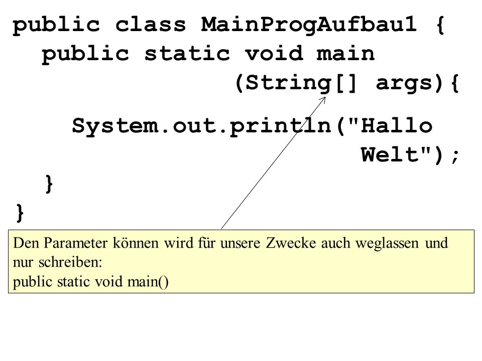 System.out.println( Hallo Welt ); } }