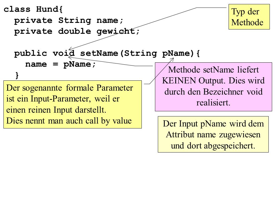 class Hund{ private String name; private double gewicht; public void setName(String pName){ name = pName; }