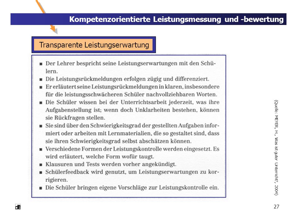 Transparente Leistungserwartung