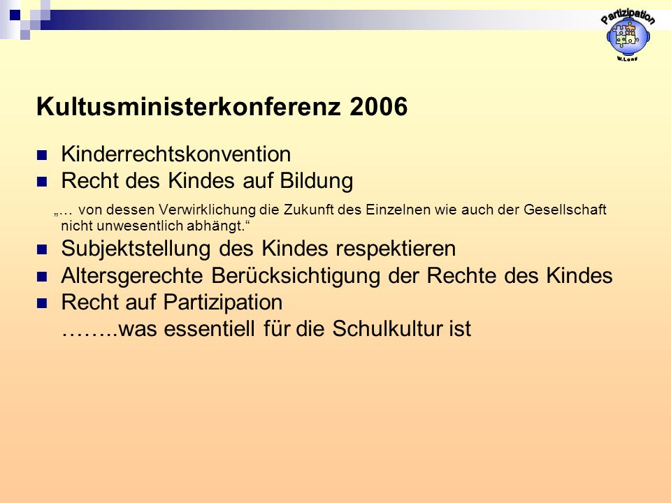 Partizipation Kultusministerkonferenz 2006 Kinderrechtskonvention