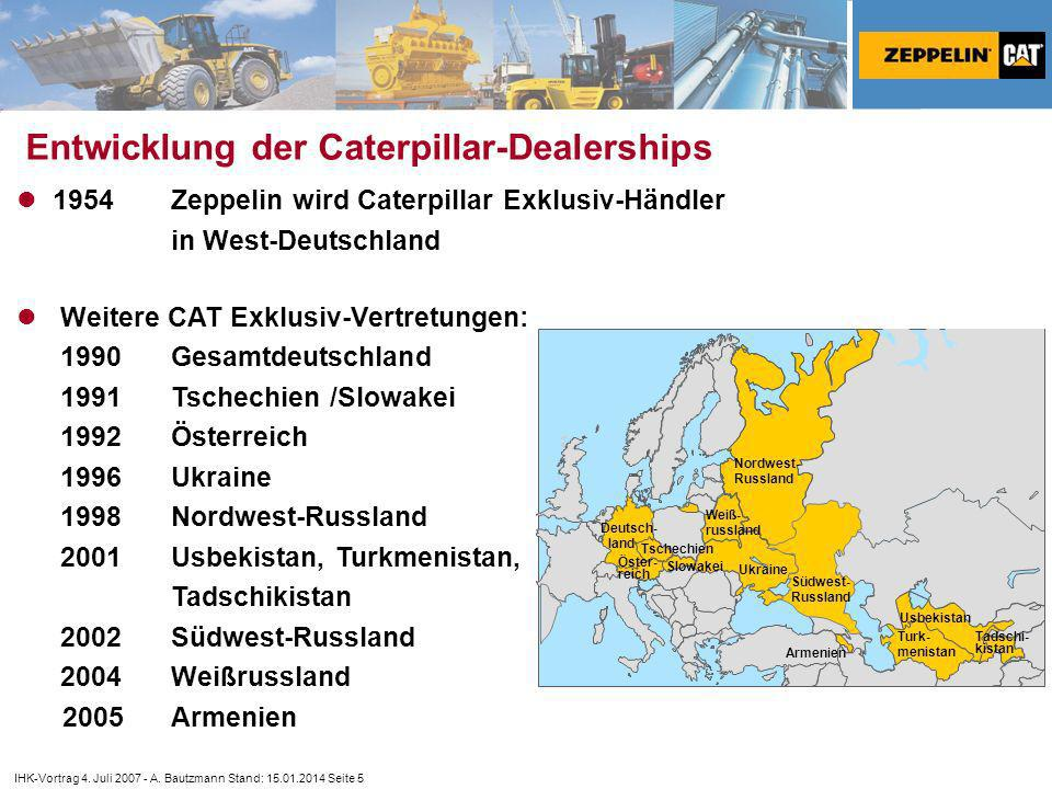 Entwicklung der Caterpillar-Dealerships