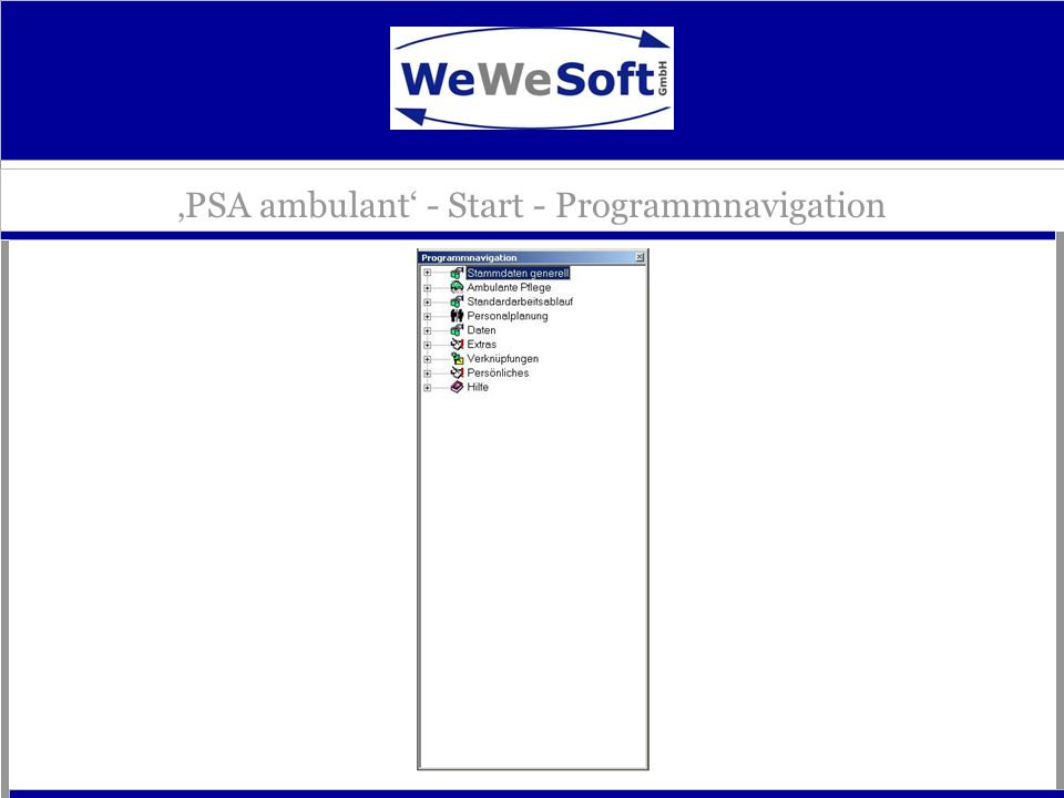 'PSA ambulant' - Start - Programmnavigation