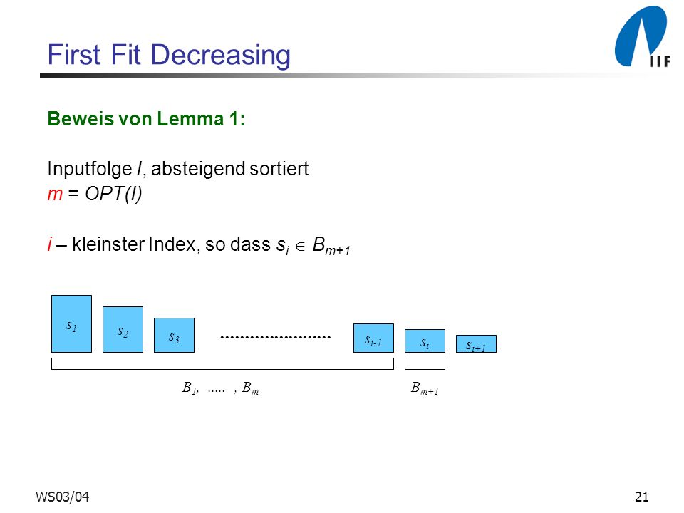 First Fit Decreasing Beweis von Lemma 1: