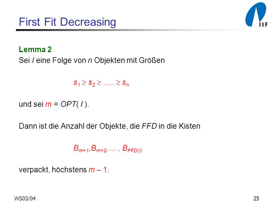 First Fit Decreasing Lemma 2
