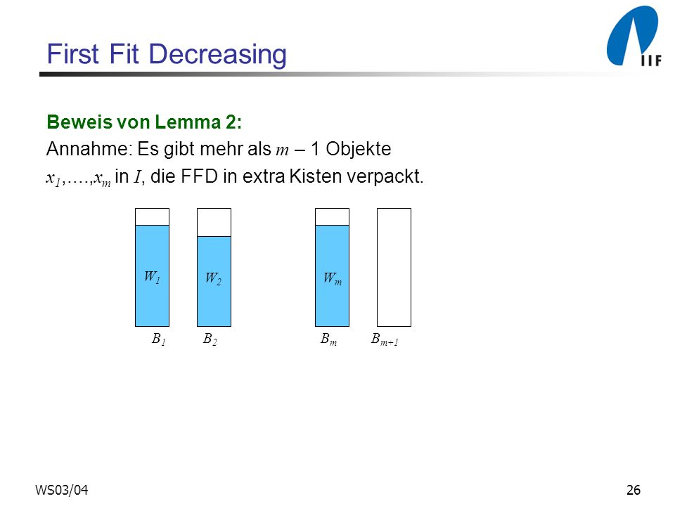 First Fit Decreasing Beweis von Lemma 2: