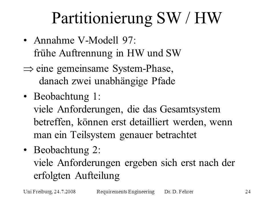 Partitionierung SW / HW