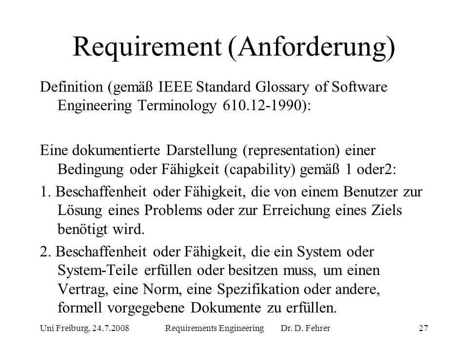 Requirement (Anforderung)