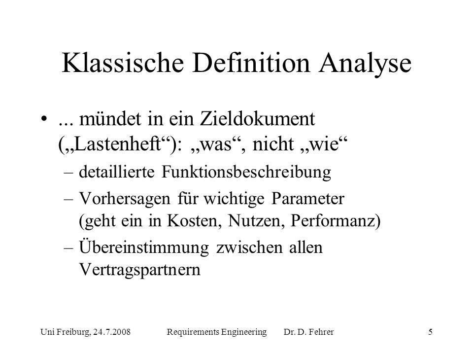 Klassische Definition Analyse