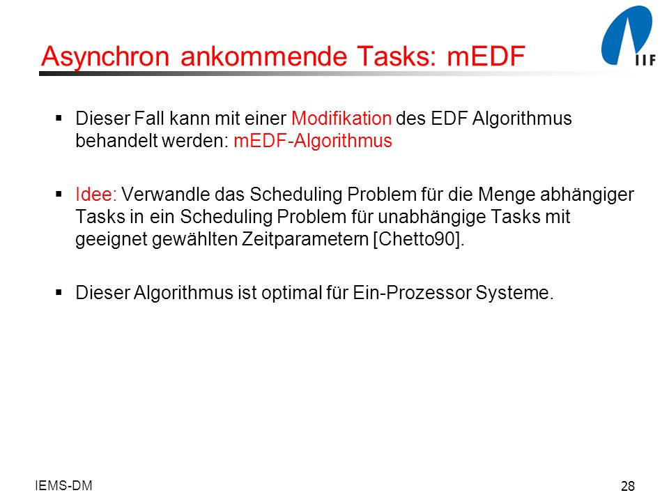 Asynchron ankommende Tasks: mEDF