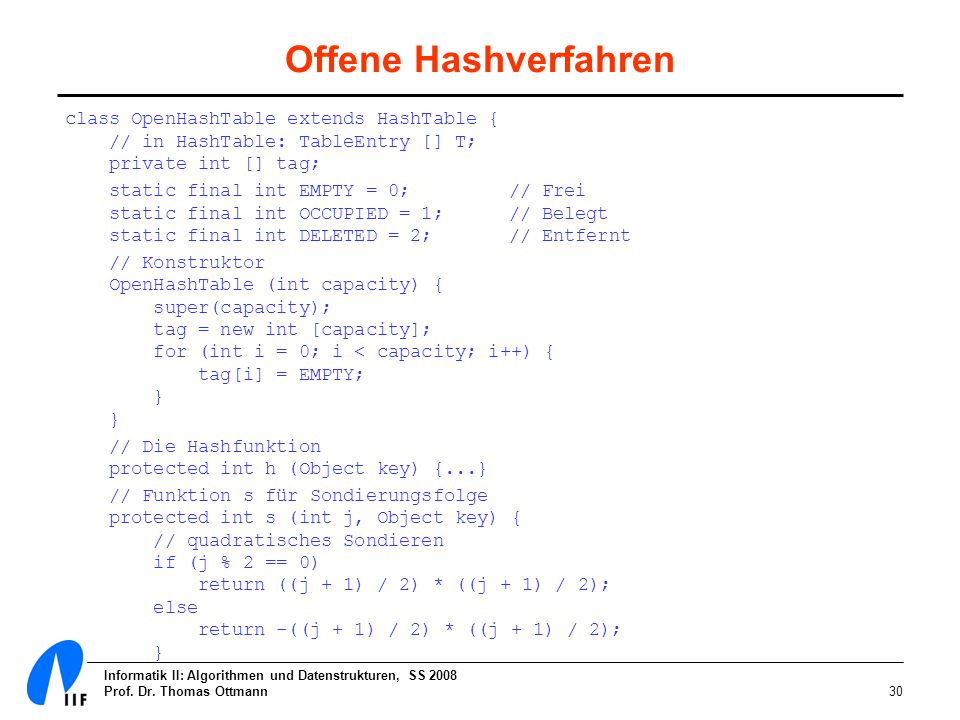 Offene Hashverfahren class OpenHashTable extends HashTable { // in HashTable: TableEntry [] T; private int [] tag;