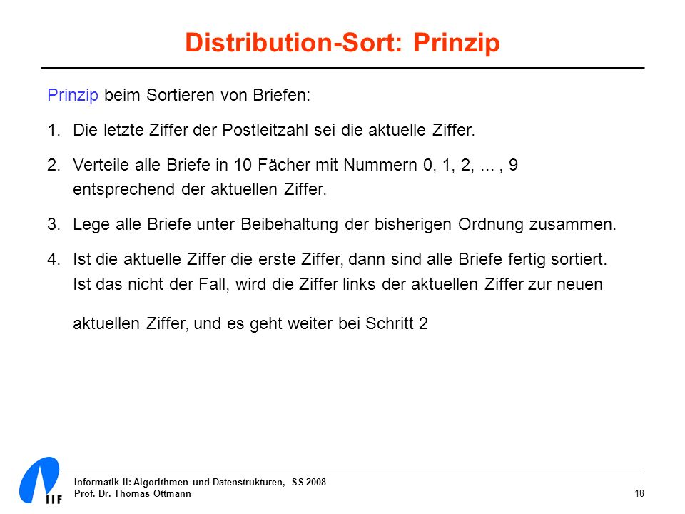 Distribution-Sort: Prinzip