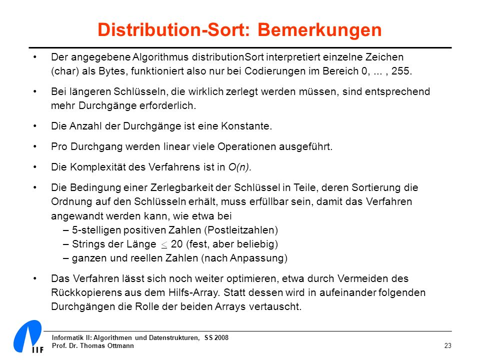 Distribution-Sort: Bemerkungen