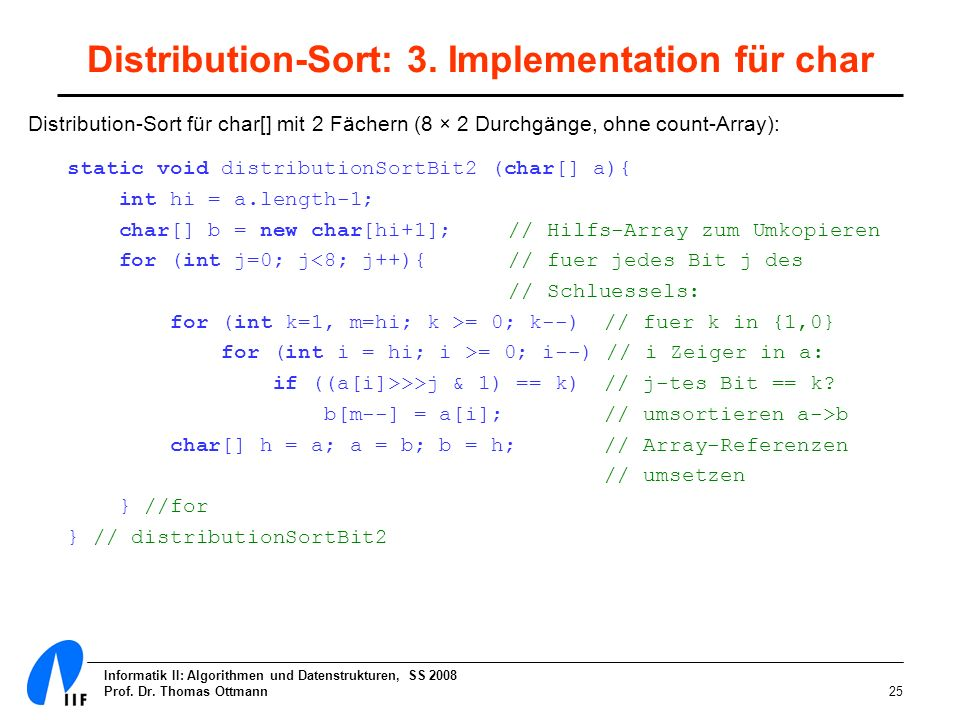 Distribution-Sort: 3. Implementation für char
