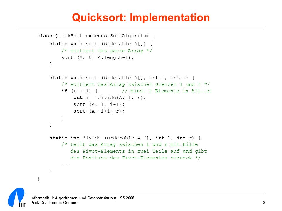 Quicksort: Implementation