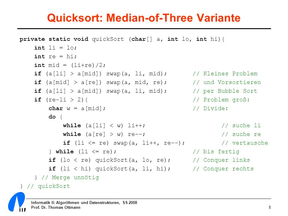 Quicksort: Median-of-Three Variante