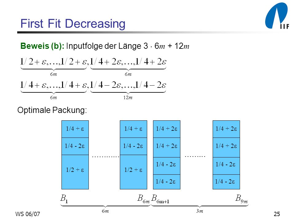First Fit Decreasing Beweis (b): Inputfolge der Länge 3  6m + 12m