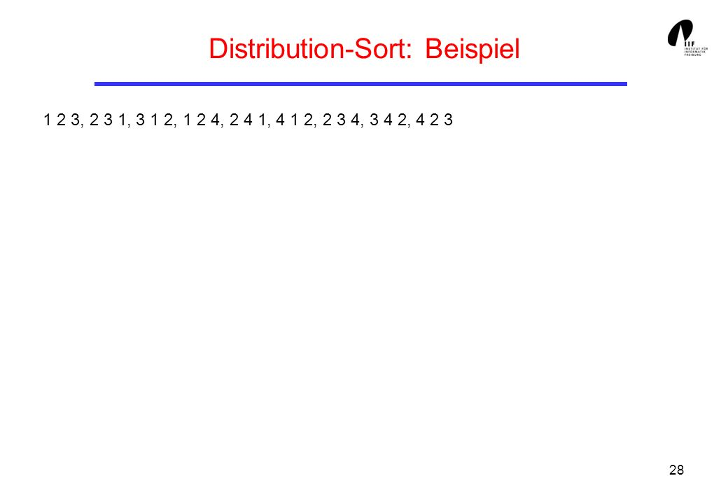 Distribution-Sort: Beispiel