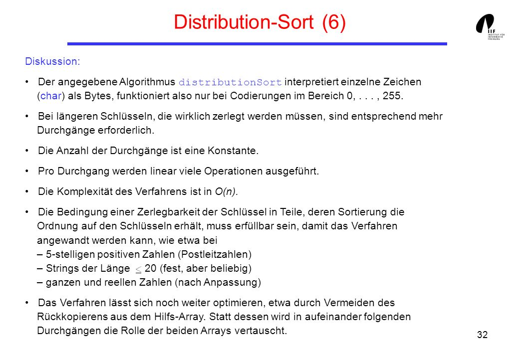 Distribution-Sort (6) Diskussion: