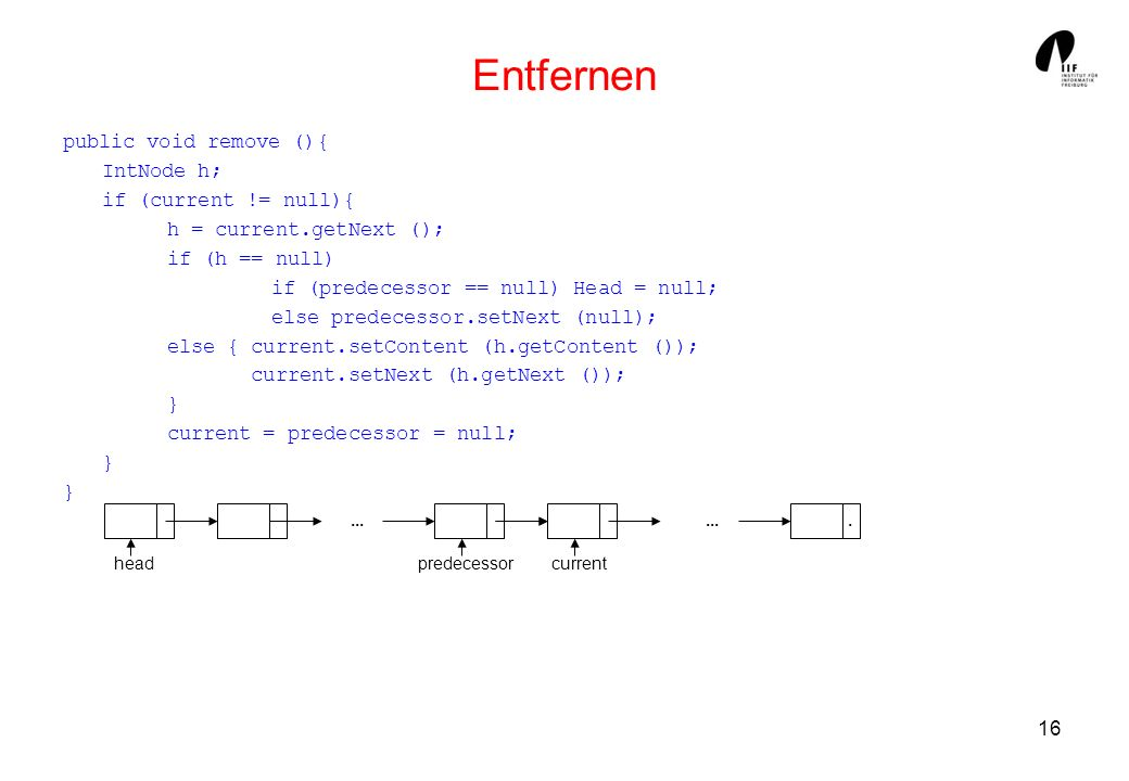 Entfernen public void remove (){ IntNode h; if (current != null){