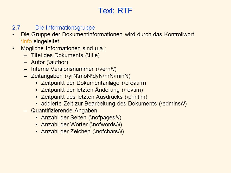 Text: RTF 2.7 Die Informationsgruppe
