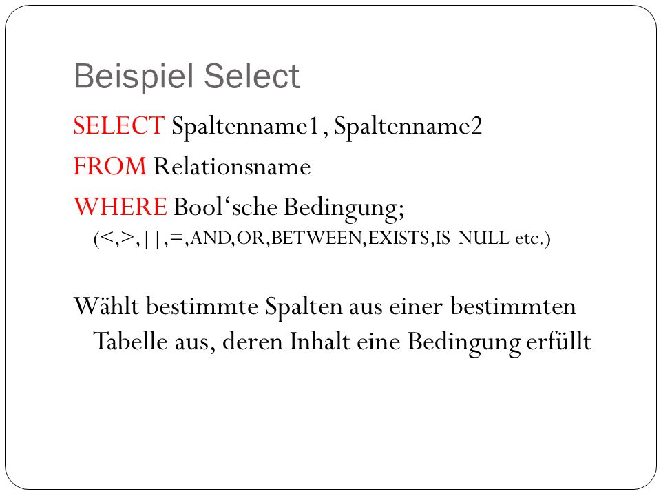Beispiel Select