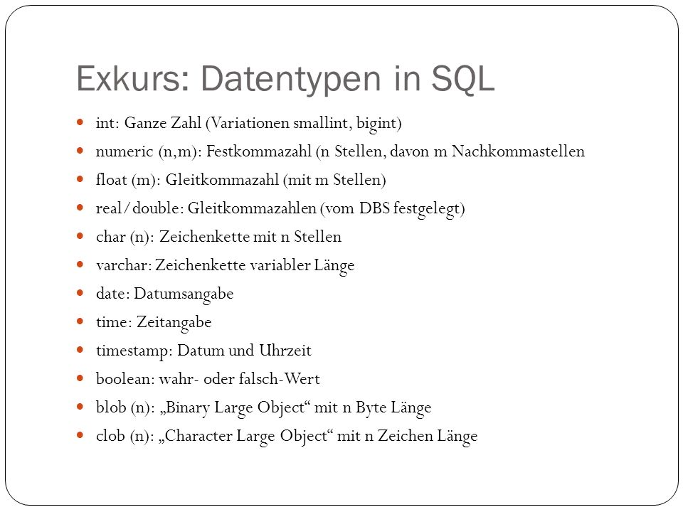 Exkurs: Datentypen in SQL