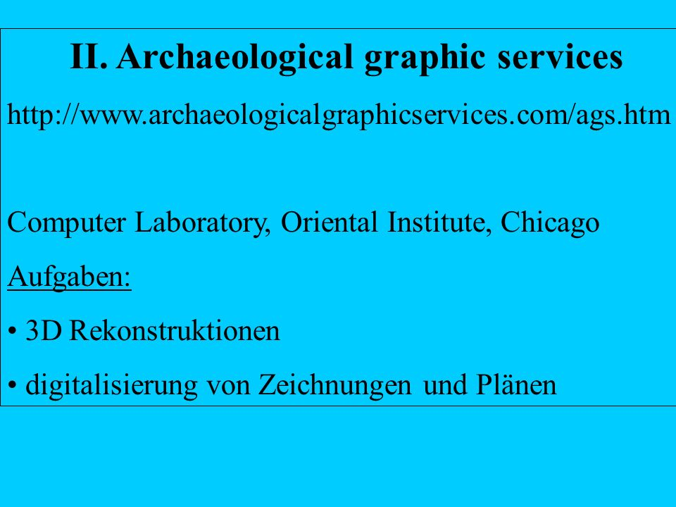II. Archaeological graphic services