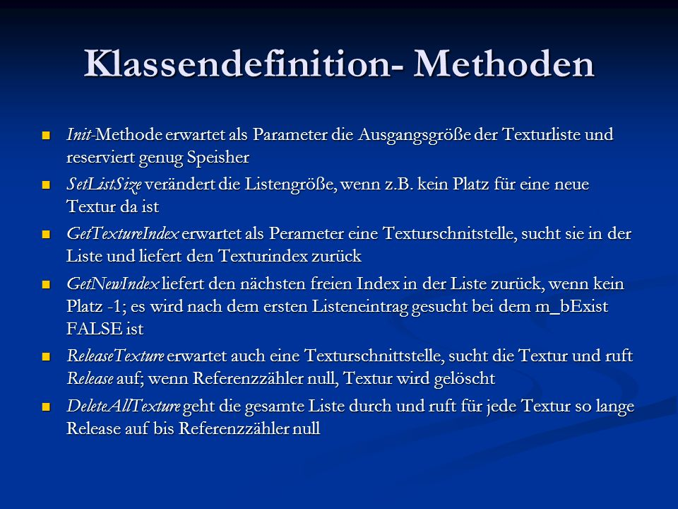 Klassendefinition- Methoden