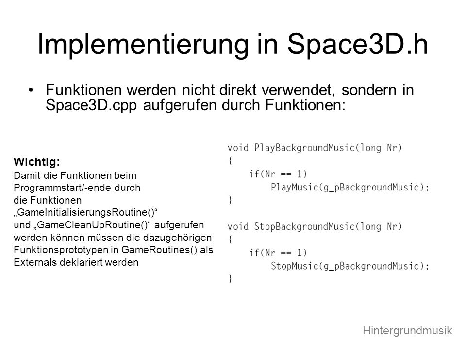 Implementierung in Space3D.h