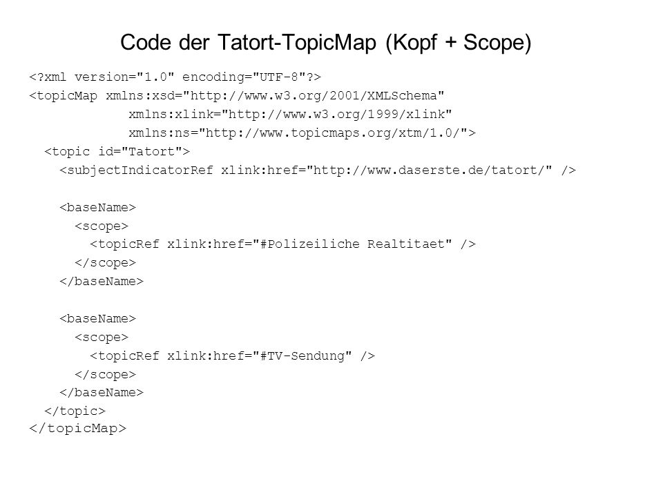 Code der Tatort-TopicMap (Kopf + Scope)