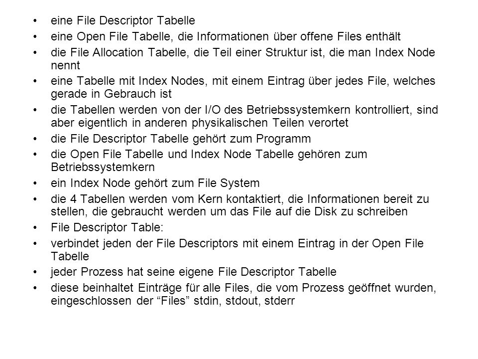 eine File Descriptor Tabelle