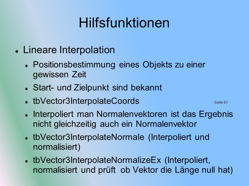 Hilfsfunktionen Lineare Interpolation