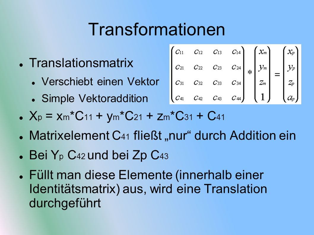 Transformationen Translationsmatrix
