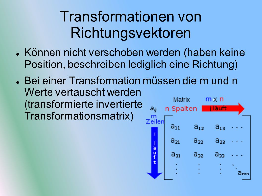 Transformationen von Richtungsvektoren