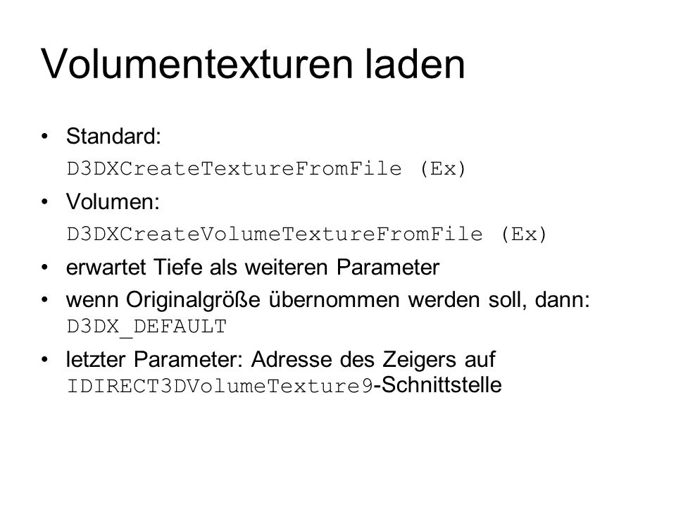 Volumentexturen laden
