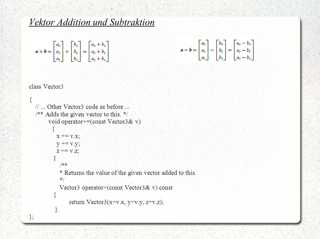 Vektor Addition und Subtraktion