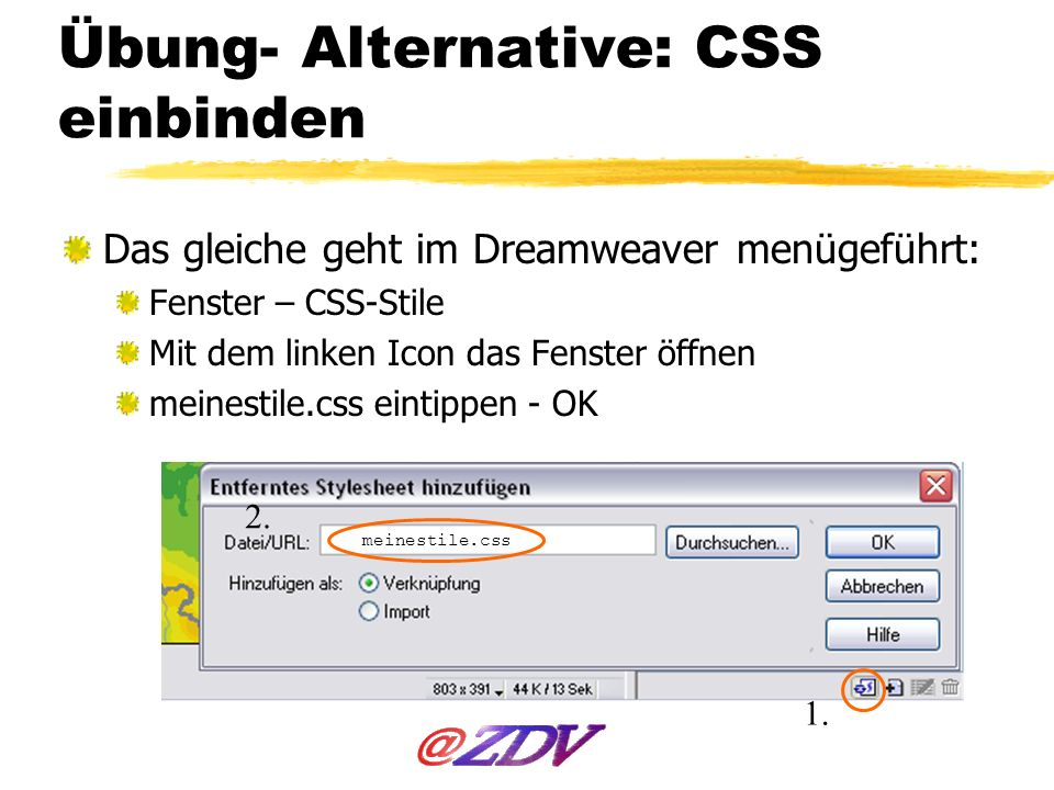 Übung- Alternative: CSS einbinden