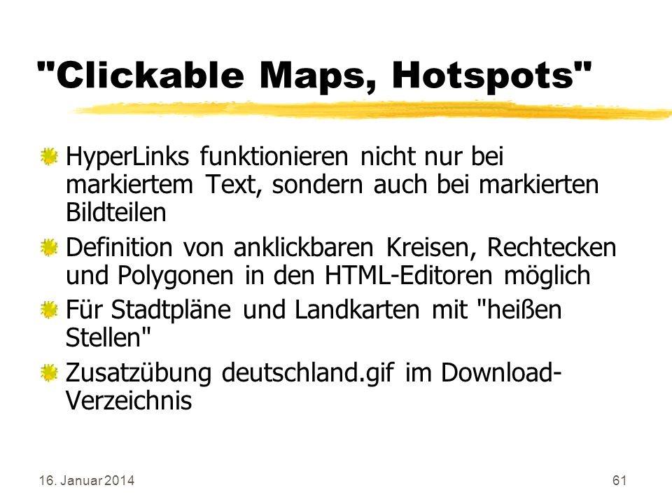 Clickable Maps, Hotspots