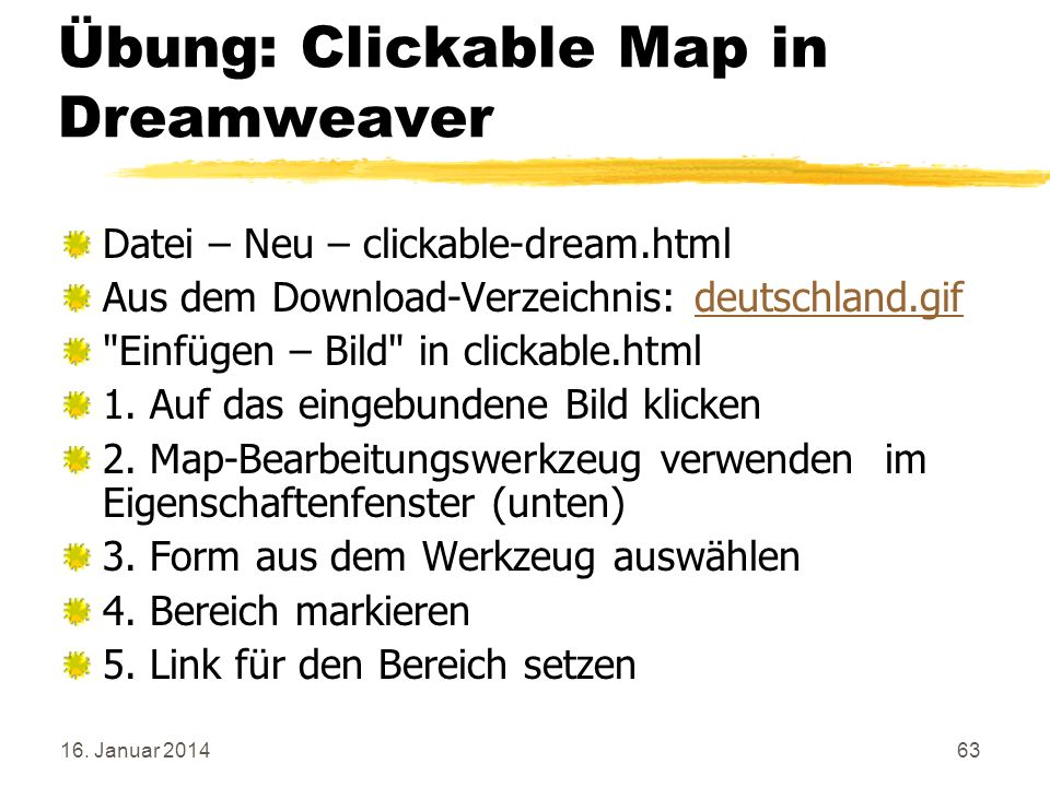 Übung: Clickable Map in Dreamweaver