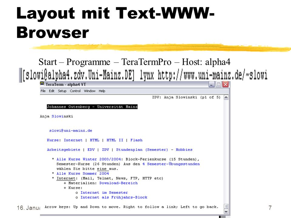 Layout mit Text-WWW-Browser