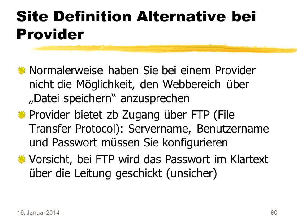 Site Definition Alternative bei Provider
