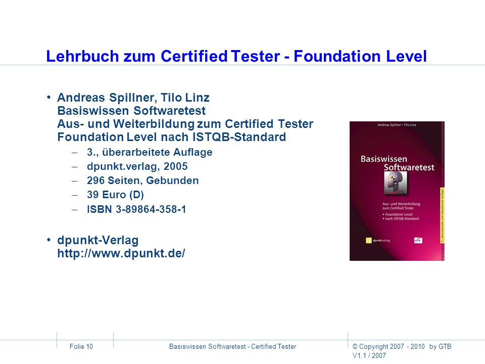 Lehrbuch zum Certified Tester - Foundation Level