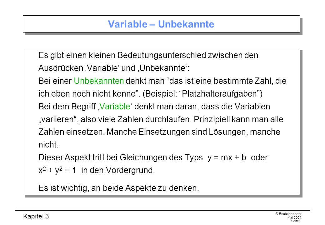 Variable – Unbekannte