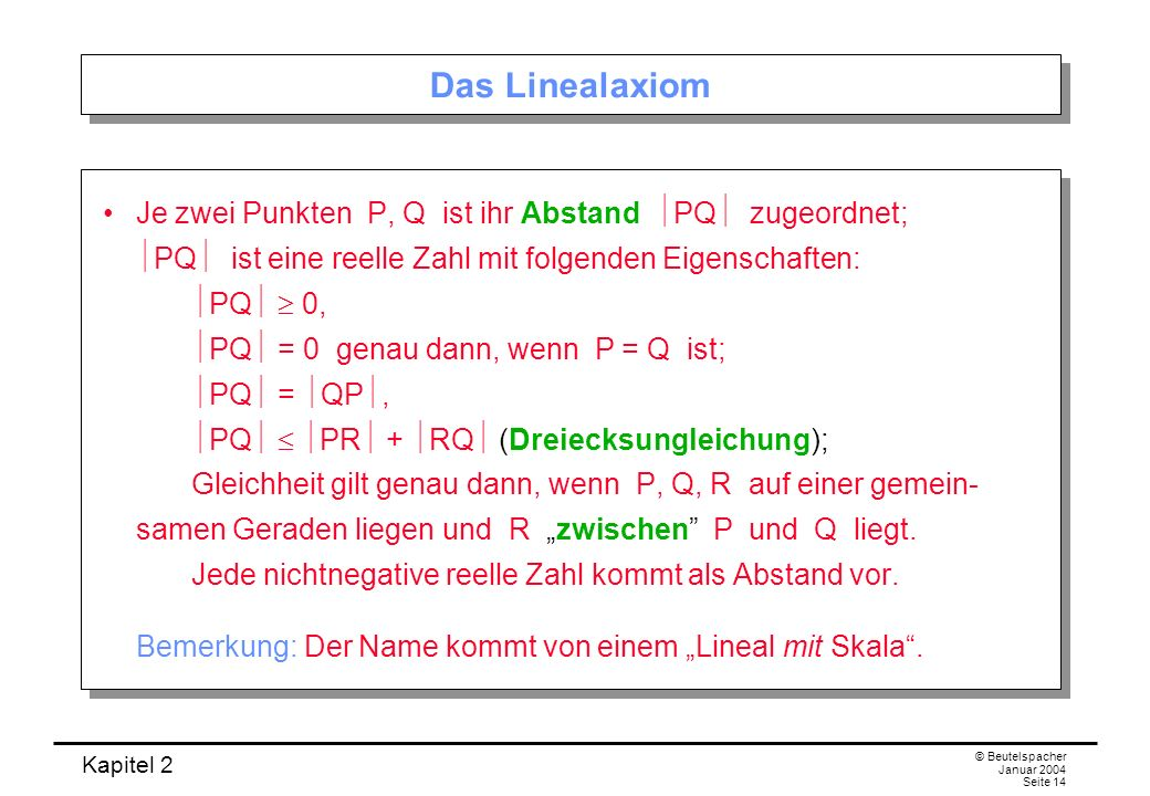 Das Linealaxiom