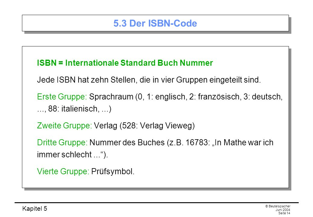 5.3 Der ISBN-Code ISBN = Internationale Standard Buch Nummer