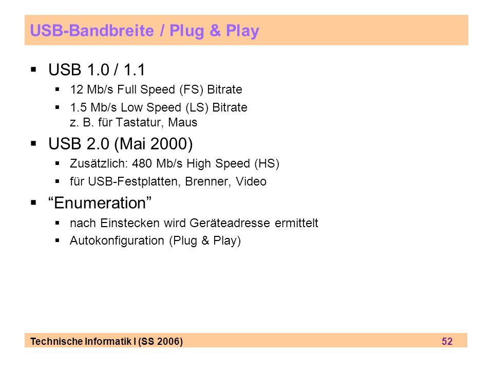 USB-Bandbreite / Plug & Play