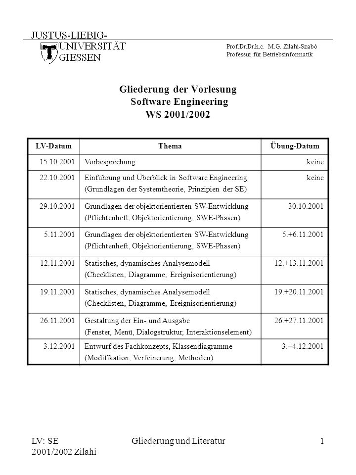 Gliederung der Vorlesung Software Engineering WS 2001/2002