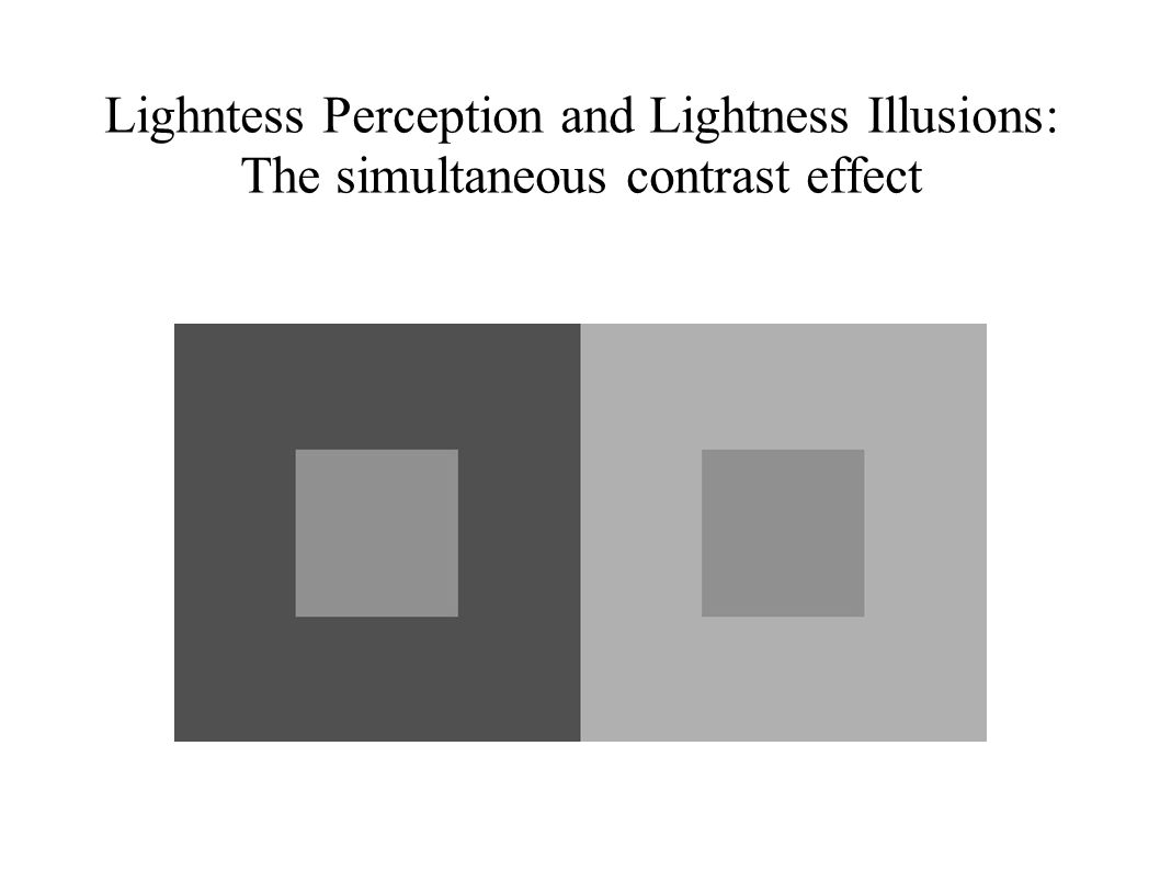 Lighntess Perception and Lightness Illusions: The simultaneous contrast effect