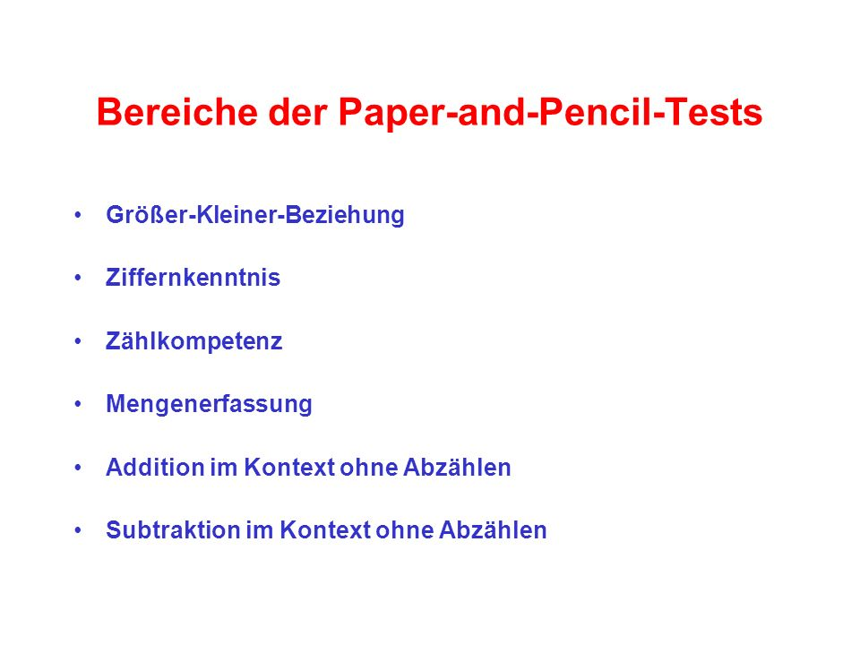 Bereiche der Paper-and-Pencil-Tests
