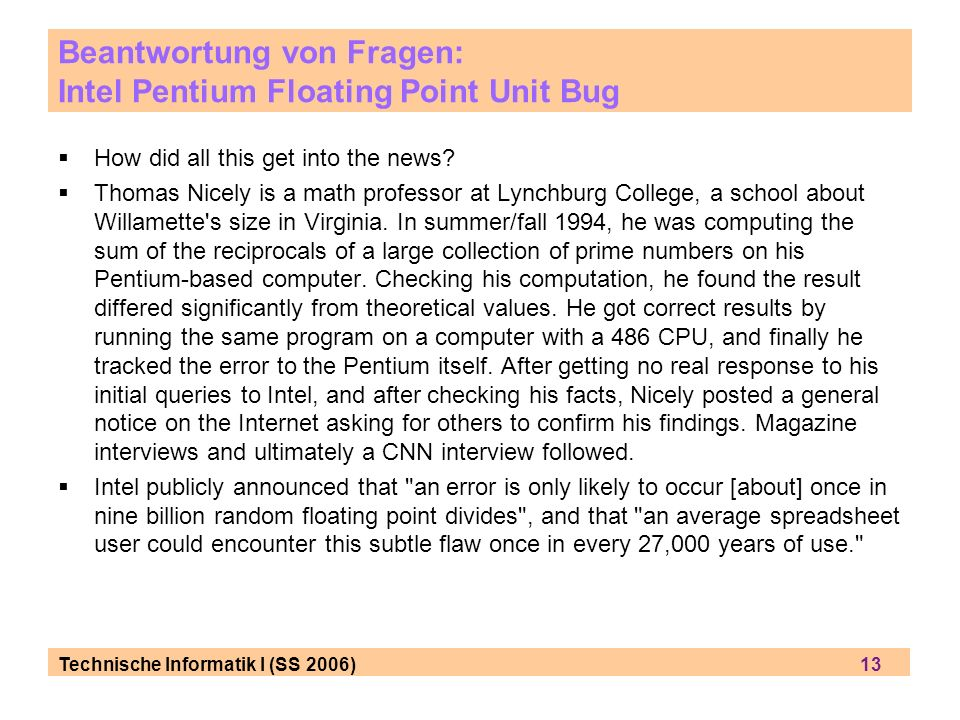 Beantwortung von Fragen: Intel Pentium Floating Point Unit Bug